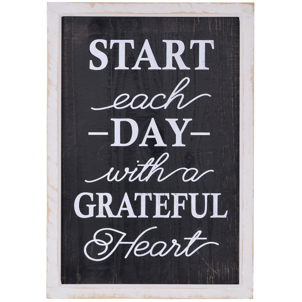 "NIKKY HOME 14"" x 20"" Wood Framed Wall Sign Plaque with Quote Start Each Day with a Grateful Heart"