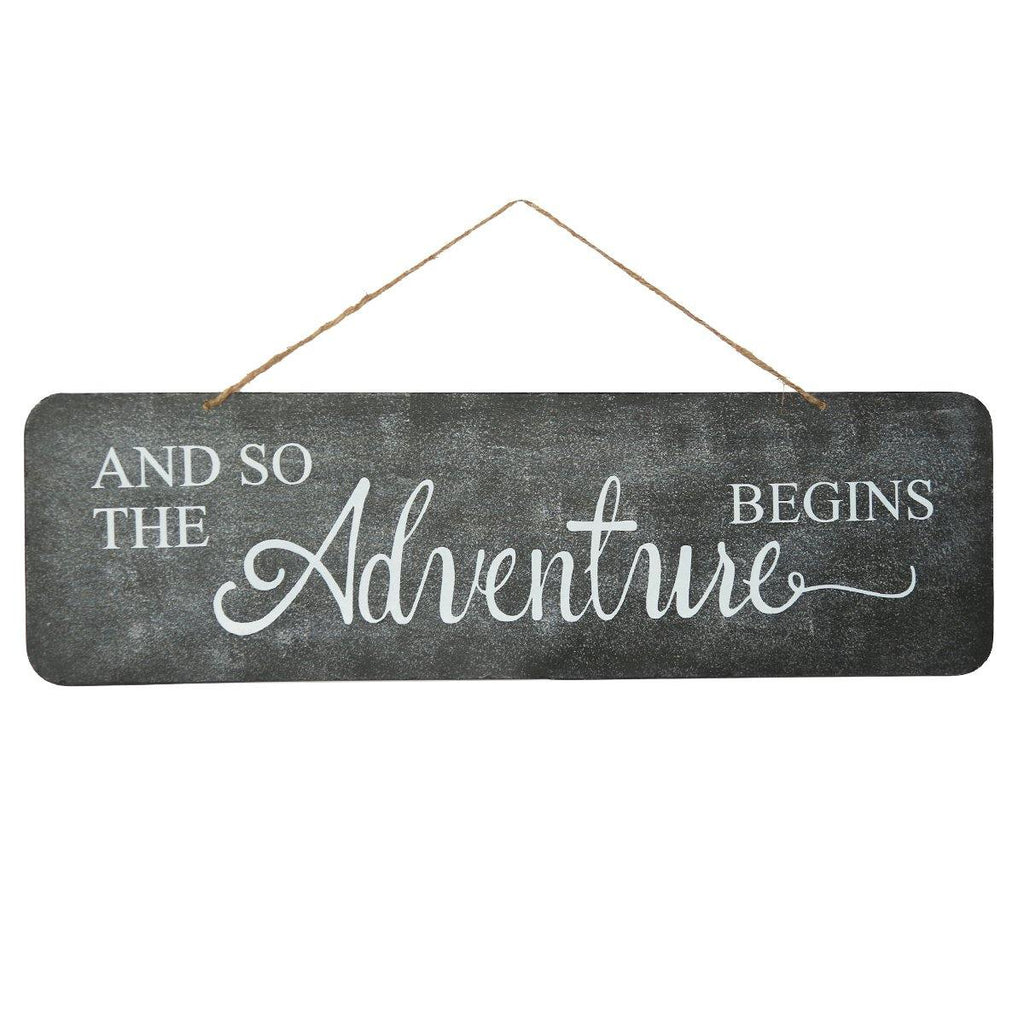 Metal Wall Plaque Decorative Wedding Sign for Anniversary - And So The Adventure Begins