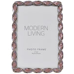 "Load image into Gallery viewer, 4x6 Purple Jeweled Picture Frame Vintage Desktop - Holds 4"" x 6"" Photos, Mauve"