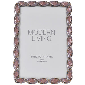 "4x6 Purple Jeweled Picture Frame Vintage Desktop - Holds 4"" x 6"" Photos, Mauve"