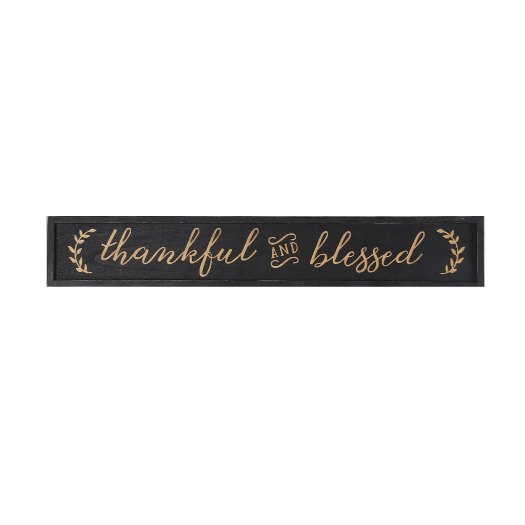 "Thankful and Blessed Carved Wood Framed Wall Plaque Sign with Inspirational Quote, 36"" x 5.9"", Black"