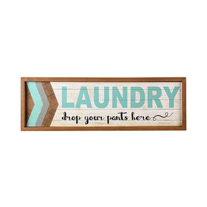Vintage Wooden Blue Laundry Sign