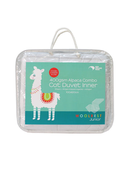 Cot Duvet Combo: 150 + 250 = 400gsm Alpaca inner (Machine Washable)