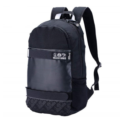 black skateboard rollerskate backpack