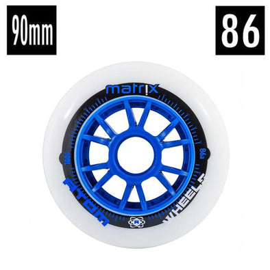 90mm blue and white atom inline speed wheel