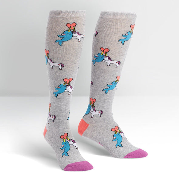 narwhal and unicorn on grey long socks