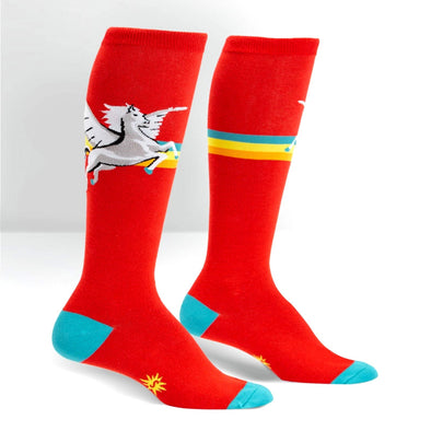 red retro pegasus long socks