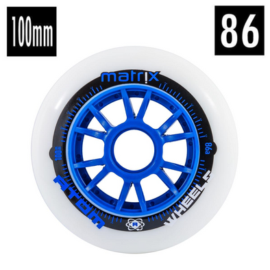 white blue speed inline wheel 100mm