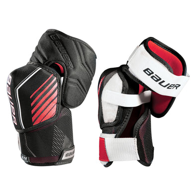 bauer white and red recreation elbow pads