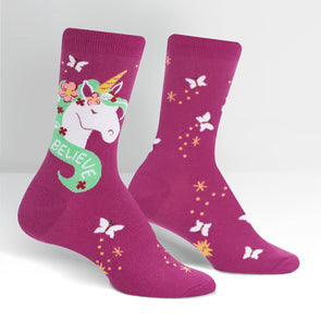 unicorn purple crew socks