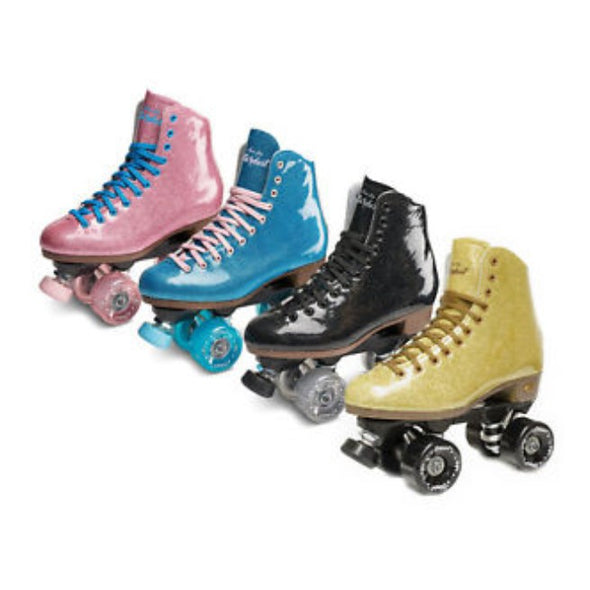 glitter rollerskates pink, blue, black and gold