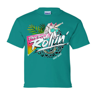 They See Me Rollin Youth T-shirt Teal