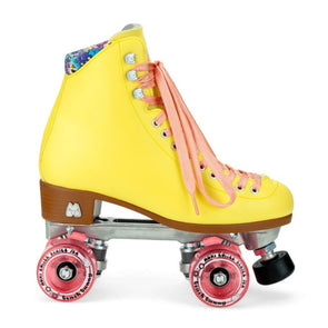 yellow and pink rollerskates