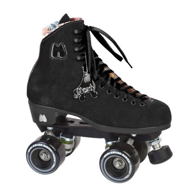 black rollerskate with outdoor wheels