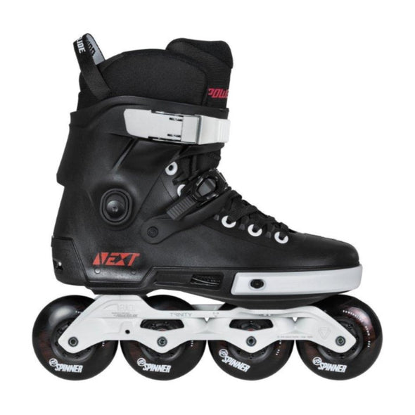 black rollerblade with white frame
