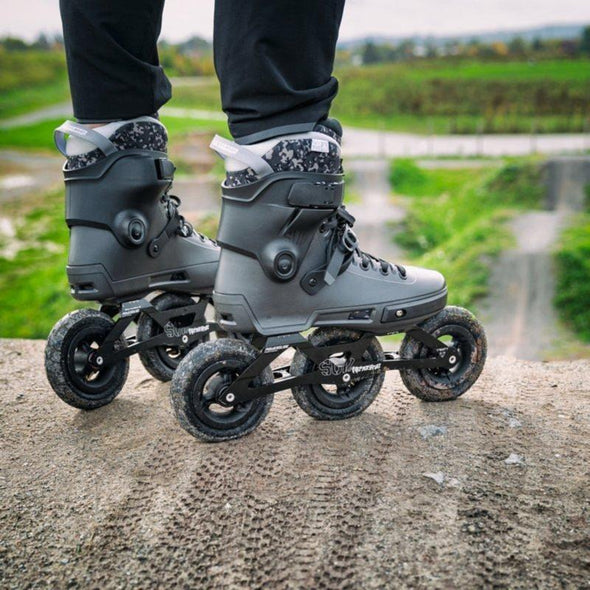 black off road inline skate with tyre wheels