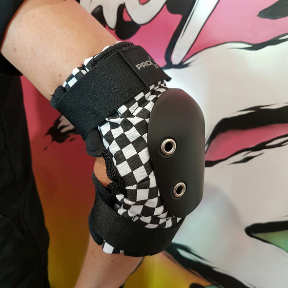 checker elbow pads