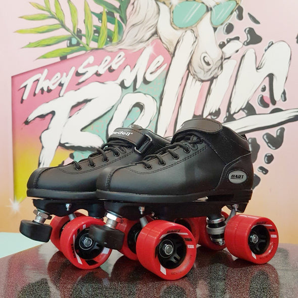 BLACK SPEED SKATE WITH RED WHEELS