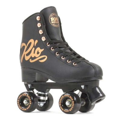 black and rose gold high top rollerskates
