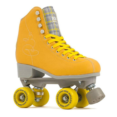 yellow high top rollerskates