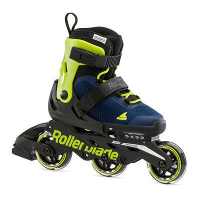 Kids Adjustable Rollerblade Microblade 3WD Blue/Lime Inlines