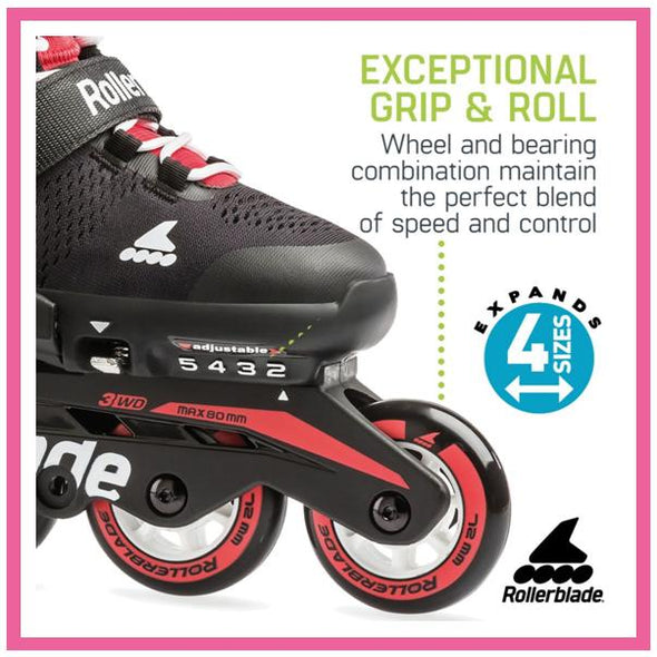 Kids Adjustable Rollerblade Microblade Red Inlines
