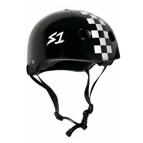 S1 Lifer Black Gloss White Checkers Helmet