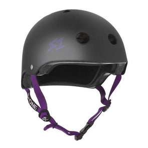 matt black helmet with purple straps