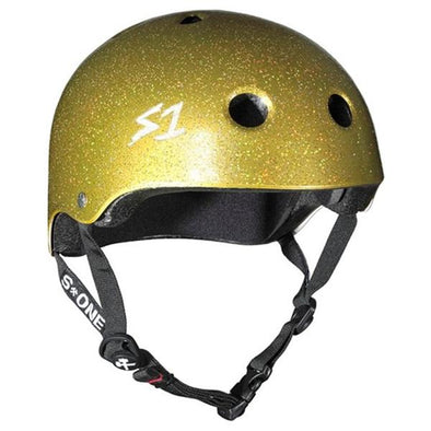 gold glitter skate bike helmet certified