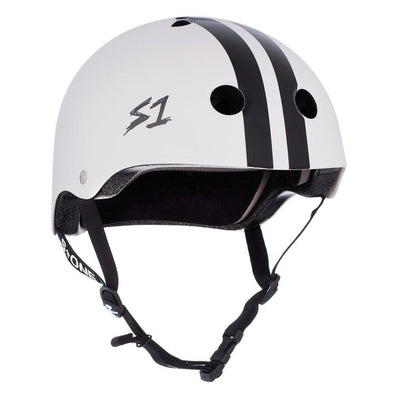white helmet with black stripes