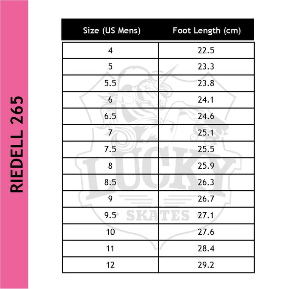 Riedell 265 Wicked Boot size chart