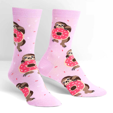 Snackin' Sloth Lilac Womens Crew Socks