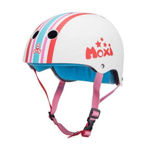 white moxi helmet with red blue stripe