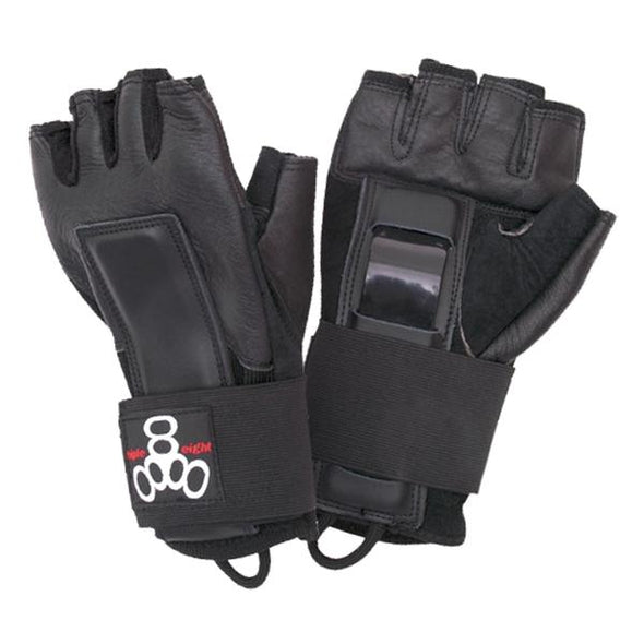 black leather gloves wrist guards with fingers