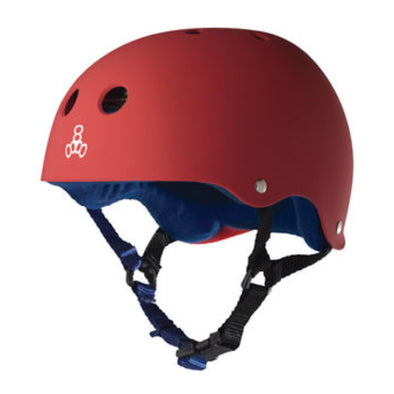 Triple 8 Red/Blue Rubber Helmet *Last Ones* Size S