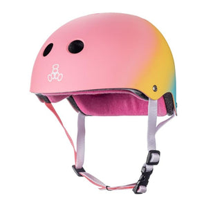 pastel pink yellow teal helmet