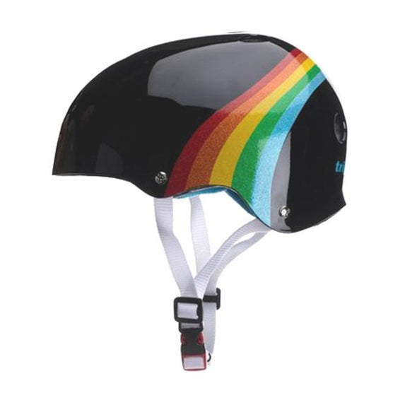 rainbow skate helmet in black