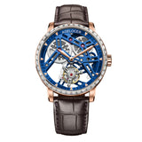 Agelocer Skeleton Tourbillon Watches For Men Genuine Leather Strap Automatic Diamond Watches 9004F2