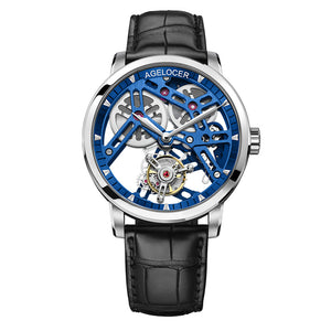 Agelocer Skeleton Tourbillon Watches For Men Genuine Leather Strap Automatic Watches 9004A1