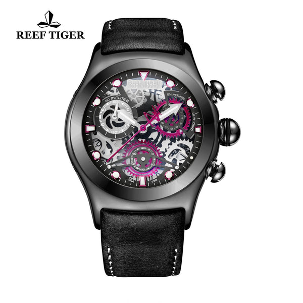 Reef Tiger Sport Chronograph Black Steel Red Skeleton Dial with Date RGA792