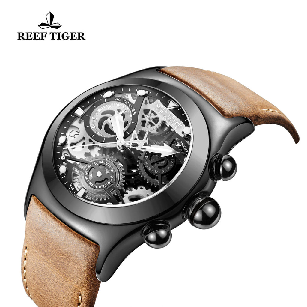 Reef Tiger Sport Chronograph Black Steel Skeleton Dial with Date RGA792