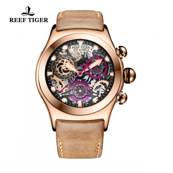Reef Tiger Sport Chronograph Rose Gold Red Skeleton Dial with Date RGA792