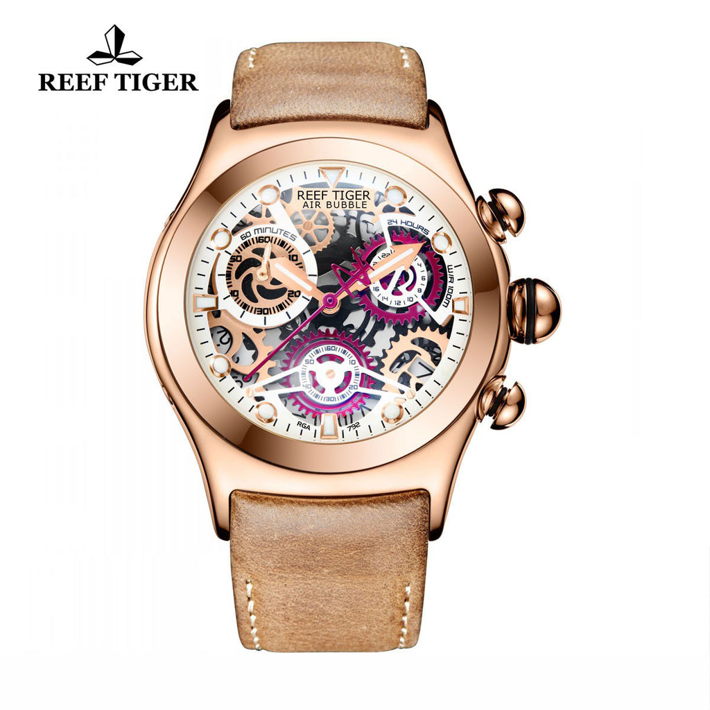 Reef Tiger Sport Chronograph Red Skeleton Dial Rose Gold with Date RGA792