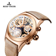 Reef Tiger Sport Chronograph Rose Gold White Skeleton Dial with Date RGA792