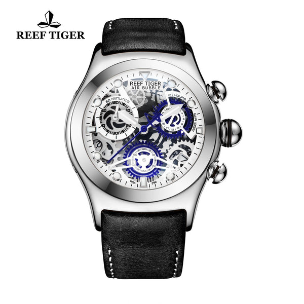 Reef Tiger Sport Chronograph Steel White Skeleton Dial Mens Watch with Date RGA792