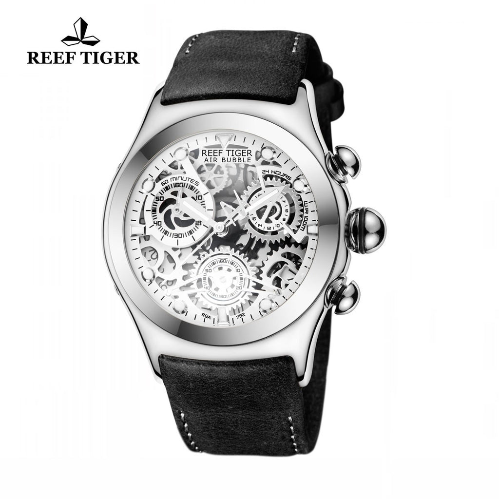 Reef Tiger Sport Chronograph White Skeleton Dial Steel with Date RGA792