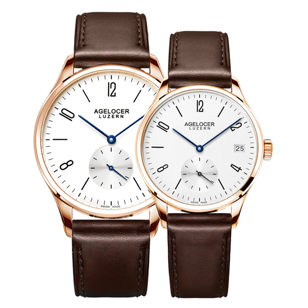 Agelocer Ultra Thin Couple Watches Rose Gold Automatic 1101A1G