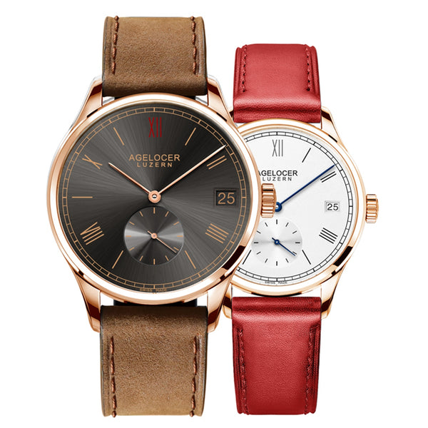 Agelocer Ultra Thin Couple Watches Rose Gold Automatic Watches for Men Women 1101A1G