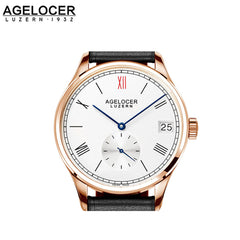 Agelocer Women's Rose Gold White Dial Brown Leather Small Seconds 110D1