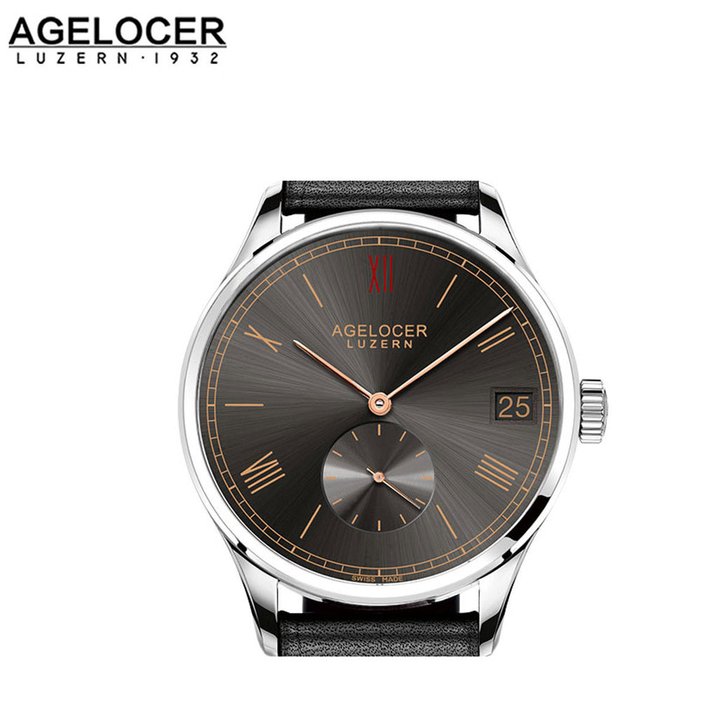 Agelocer Casual Steel Black Dial Leather Strap Watch 1104A2